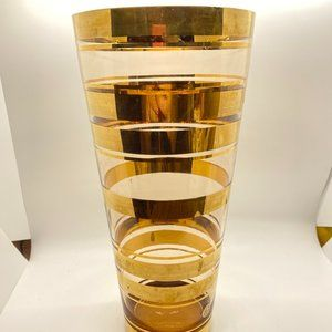 ROMANIAN Glass Vase with Gold Bands